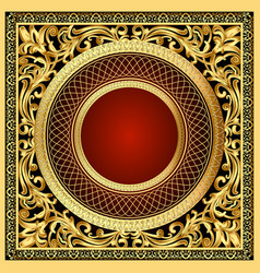 a vintage background frame with a golden ornament vector image