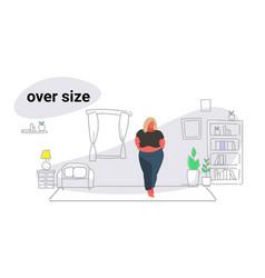 Abdomen fat overweight woman blonde fatty girl vector