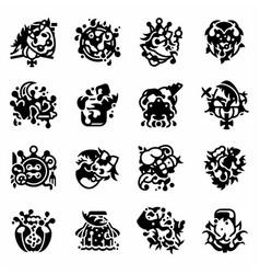 Alice through looking glass icon set vector