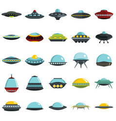 Alien spaceship spacecrafts and ufo set vector