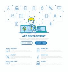 App development developer coding on laptop vector