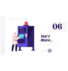 automation process on factory website landing page vector image