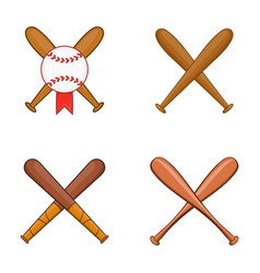 baseball bit icon set cartoon style vector image