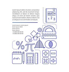 Basic mathematics course article page template vector