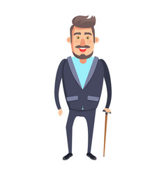 bearded senior man with stick vector image