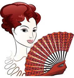 Beautiful woman with a fan vector