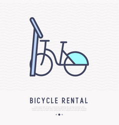 Bicycle rental thin line icon vector