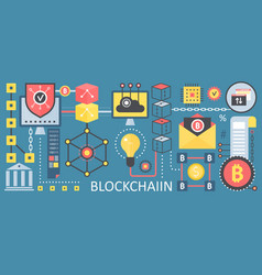 Bitcoin cryptocurrency and blockchain network vector