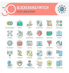 Blockchain and fintech icons vector