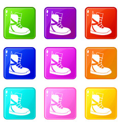 Boot for snowboarding icons 9 set vector