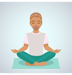 Boy yoga vector