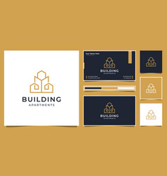 Building logo design with modern concept city vector