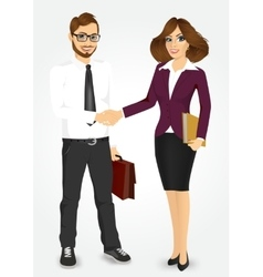 businessman and businesswoman shaking hands vector image