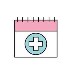 Calendar for menstrual period with cross health vector