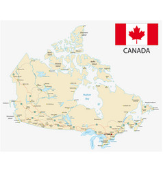 canada road map with flag vector image