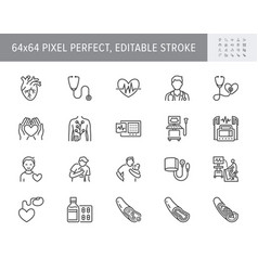 Cardiology line icons vector