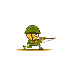 Cartoon soldier in uniform and rifle ready vector