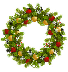 Christmas fir wreath with garland vector