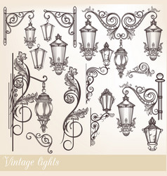 Collection of street lamps and calligraphic swirls vector