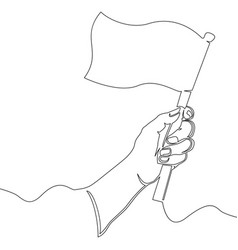 continuous line drawing hand holding flag vector image
