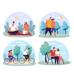 Couple at date man and woman having bicycle ride vector