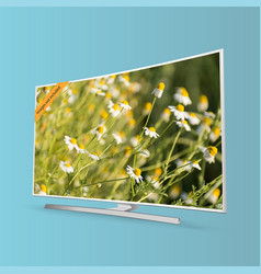 curved smart uhd tv series isolated on blue vector image