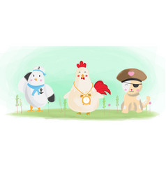 Cute animals bird chicken and cat watercolor vector