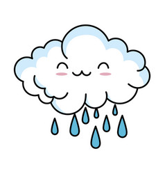 Cute cloud rainy kawaii character vector