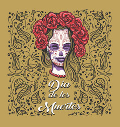 day dead emblem woman with sugar skull vector image