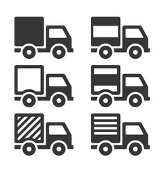 delivery truck icon set cargo sign on white vector image