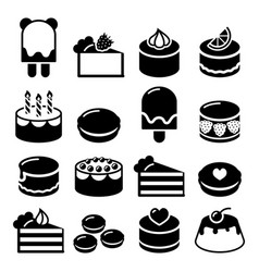dessert icons set - cake macaroon ice-cream vector image