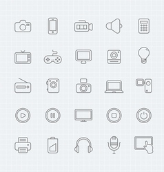 Device and multimedia thin line symbol icon vector