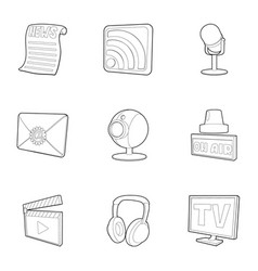 Dispatch icons set outline style vector