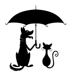 Dog with umbrella and cat vector