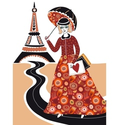 Fashion woman in Paris vector image