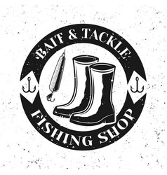 Fishing shop round emblem badge with boots vector