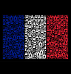 French flag mosaic of death skull tag items vector