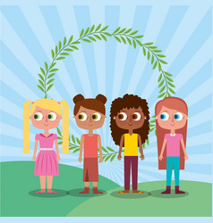 Friends happy girl teen characters and floral vector