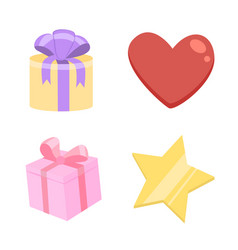 Gifts or presents heart and star isolated objects vector