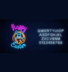 Glowing neon sign easter bunny in basket with vector