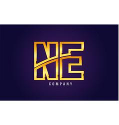 Gold golden alphabet letter ne n e logo vector