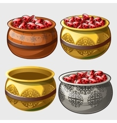 Gold silver and clay pot with rubies vector