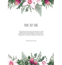 greeting card with flowers watercolor can be vector image