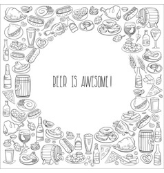Hand drawn beer and food vector