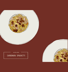 hand drawn carbonara spaghetti vector image