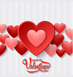 Happy valentines day with heart on wood vector