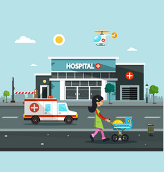 hospital building flat design vector image