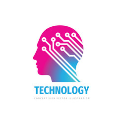 human head brain logo design computer electronic vector image
