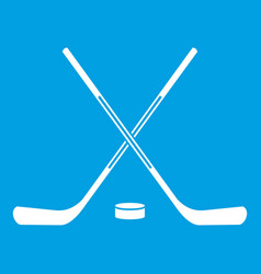 ice hockey sticks icon white vector image