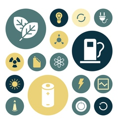 Icons plain round energy vector